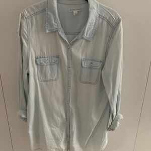 Chambray button-up in light wash